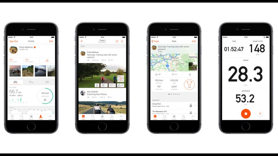 The Strava app in action
