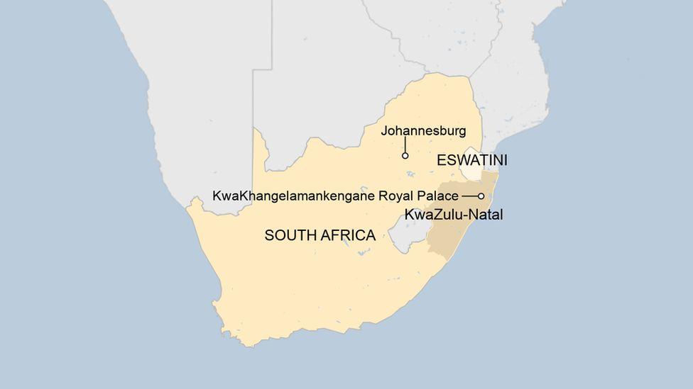 A map showing KwaZulu-Natal