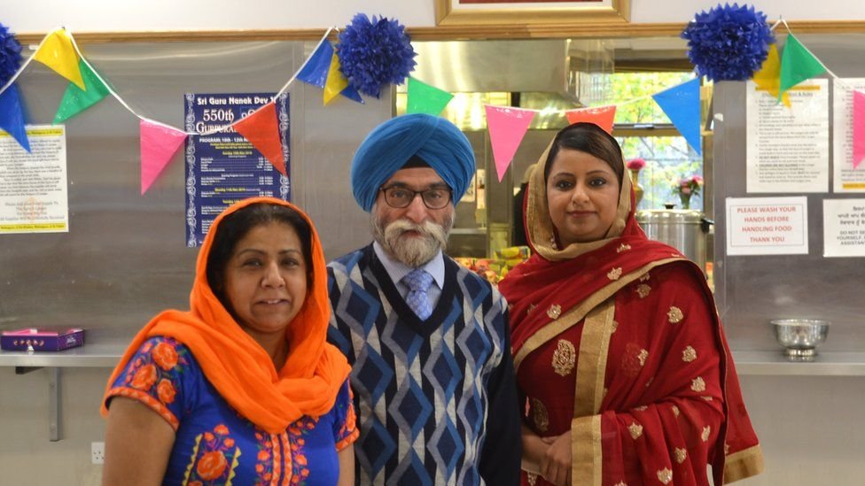 General secretary Dalbjeet Singh Dilber, with Shindo Kaur (left) and Prabhjot Virhia (right) outside the temple's kitchen