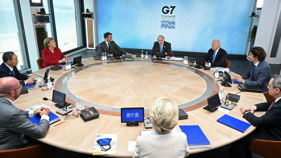 G7 leaders at a meeting in Cornwall