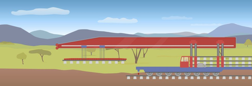 Graphic of the track-laying machine