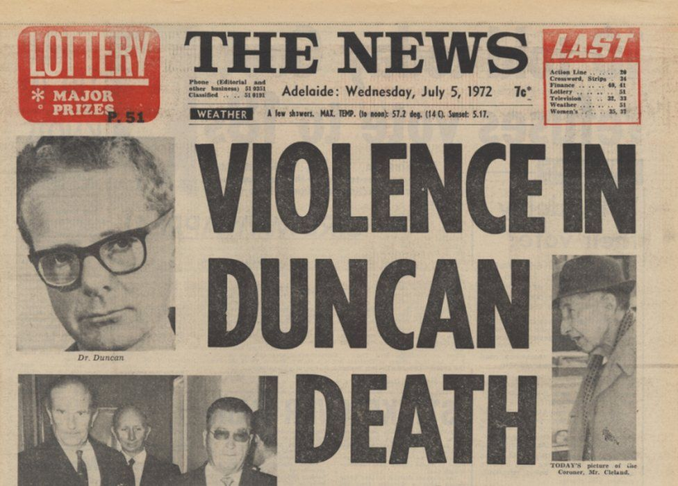 A 1972 newspaper report on the death of Dr George Duncan, also showing a coroner and police chiefs, none of whom were suspected in the death