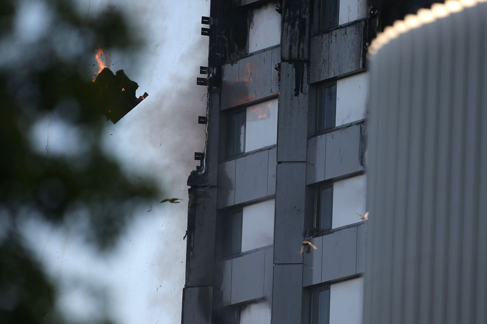 Cladding falling from the tower