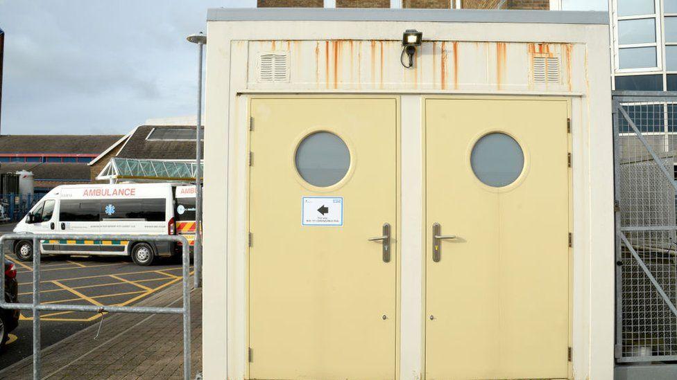 Coronavirus pods outside Dorset County Hospital