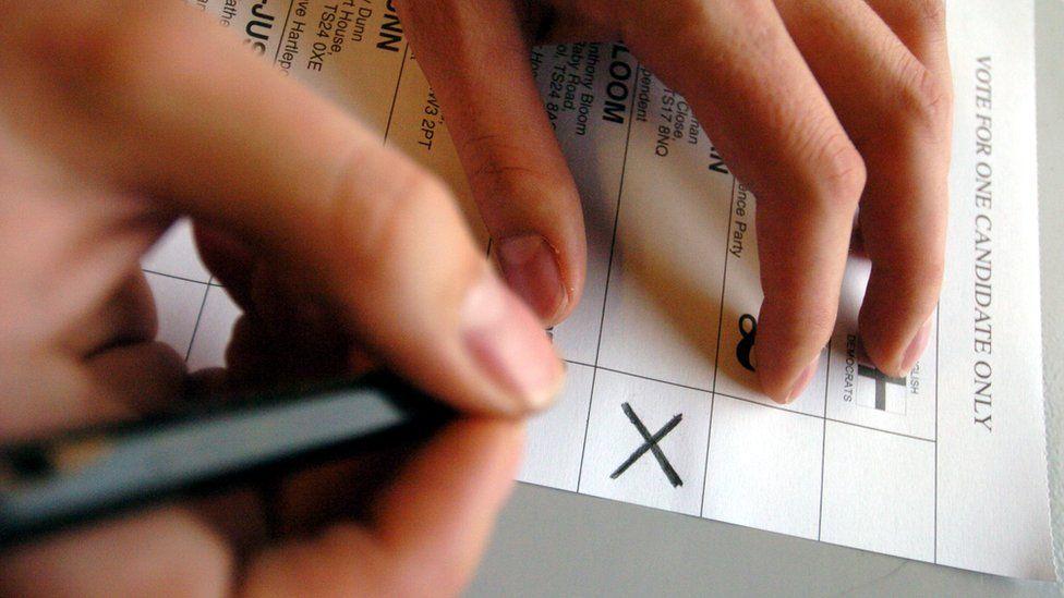 Woman filling out ballot