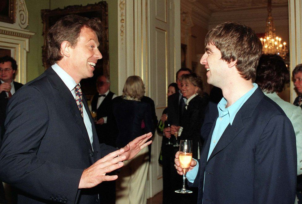 Prime Minister Tony Blair and Oasis star Noel Gallagher at 10 Downing Street reception on 30 July 1997