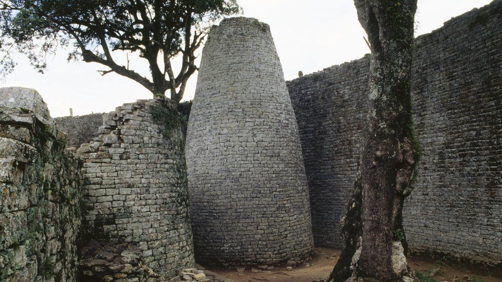 Great Zimbabwe ruins - archive shot of the conical tower