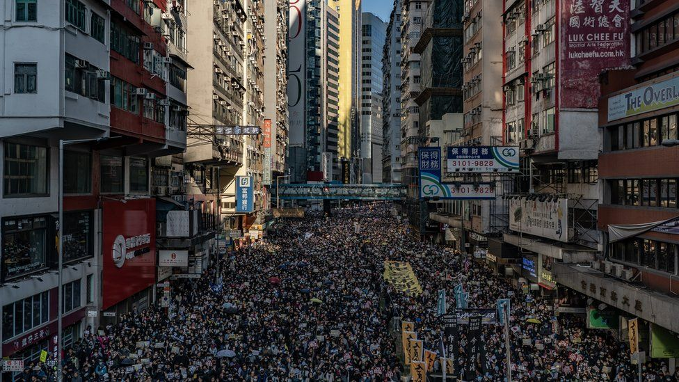 Protesters fill a street in Hong Kong