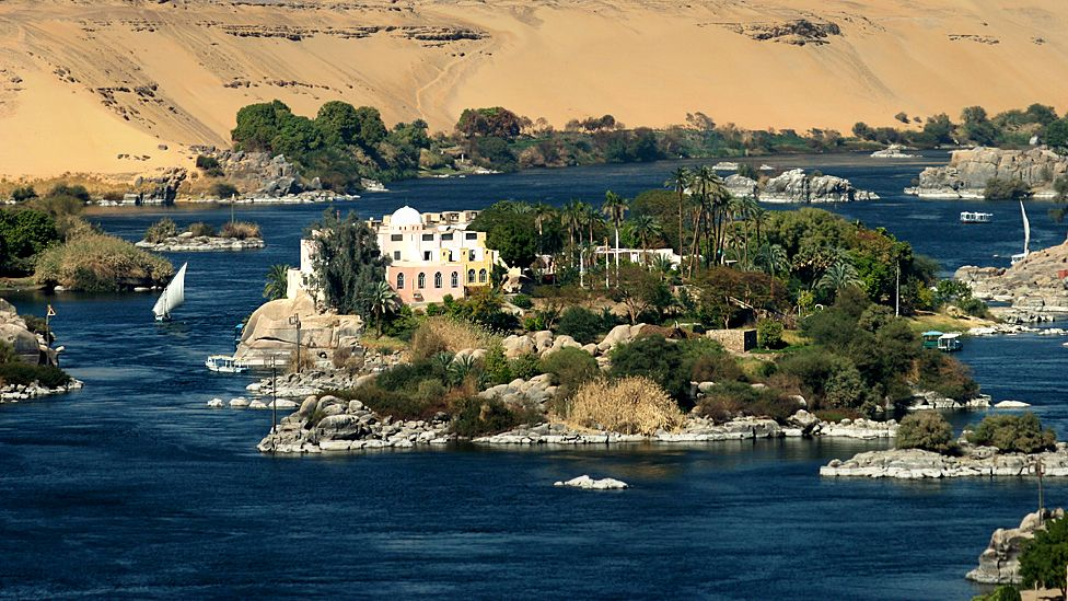 The Nile flows through the Egyptian city of Aswan around 920km (570 miles) south of the capital Cairo