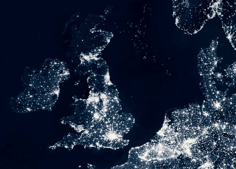 Night-time scene of UK and part of Western Europe (c) SPL