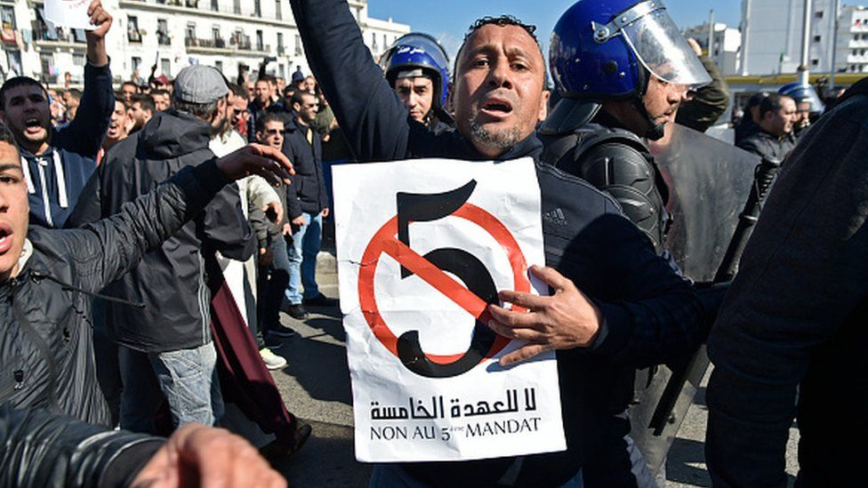 A protestor holding a placard in Algiers
