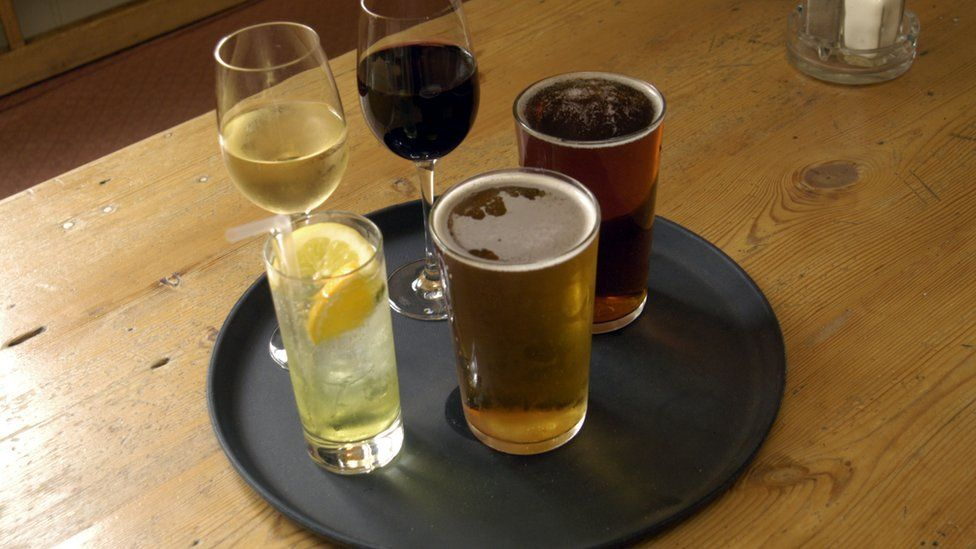 Drinks on a tray
