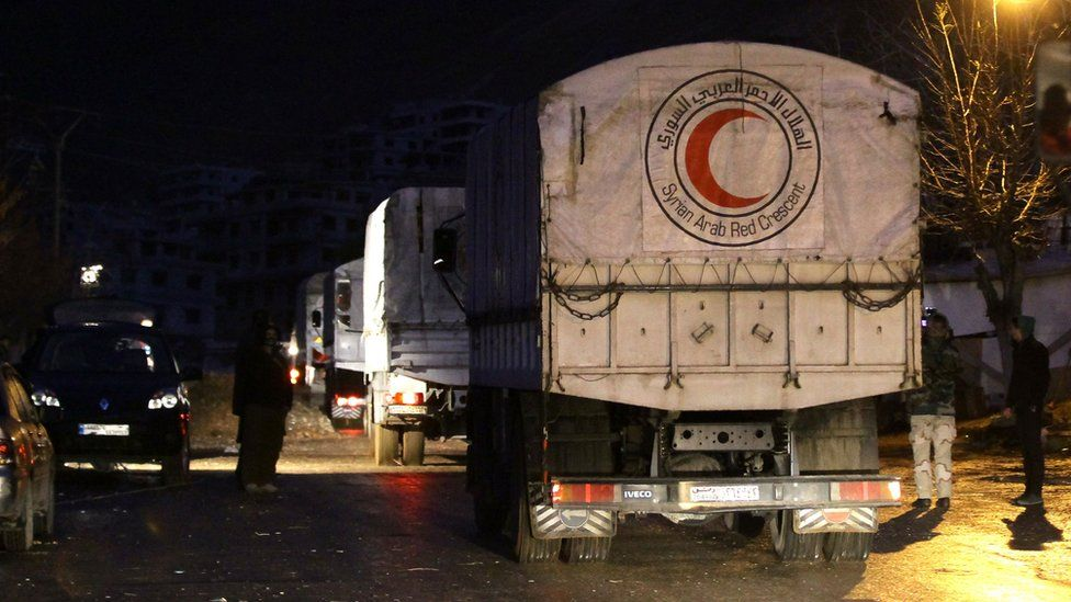 Convoys of aid from the Syrian Arab Red Crescent enters the besieged rebel-held Syrian town of Madaya on 14 January