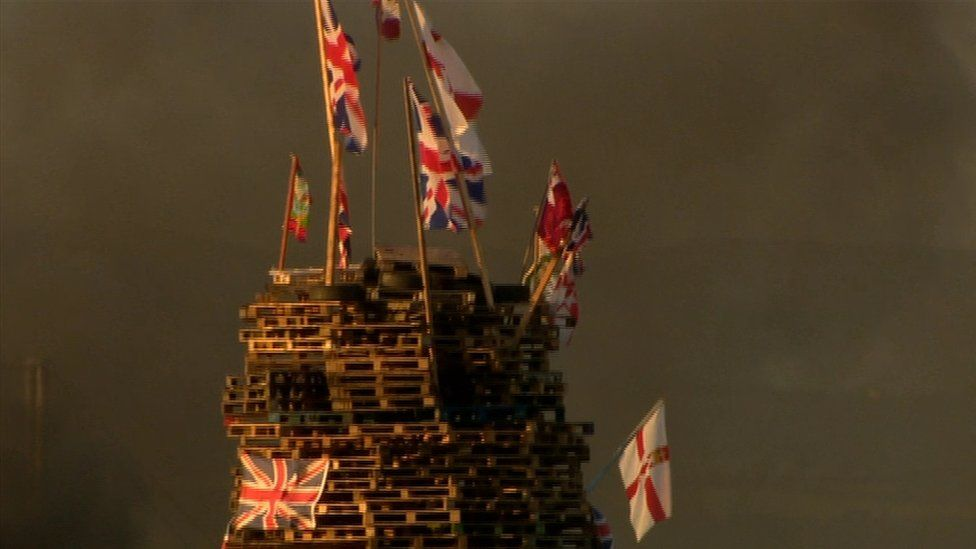 Flags were also burnt on a bonfire on the outskirts of the Creggan estate