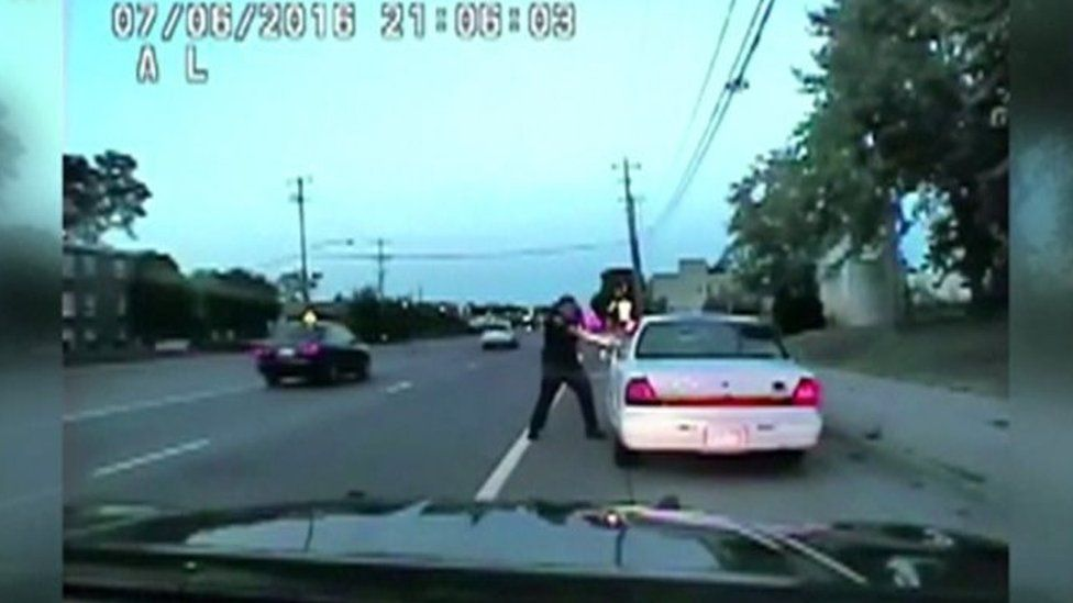 A still photo from a dashcam footage showing the fatal policing shooting of Philando Castile.