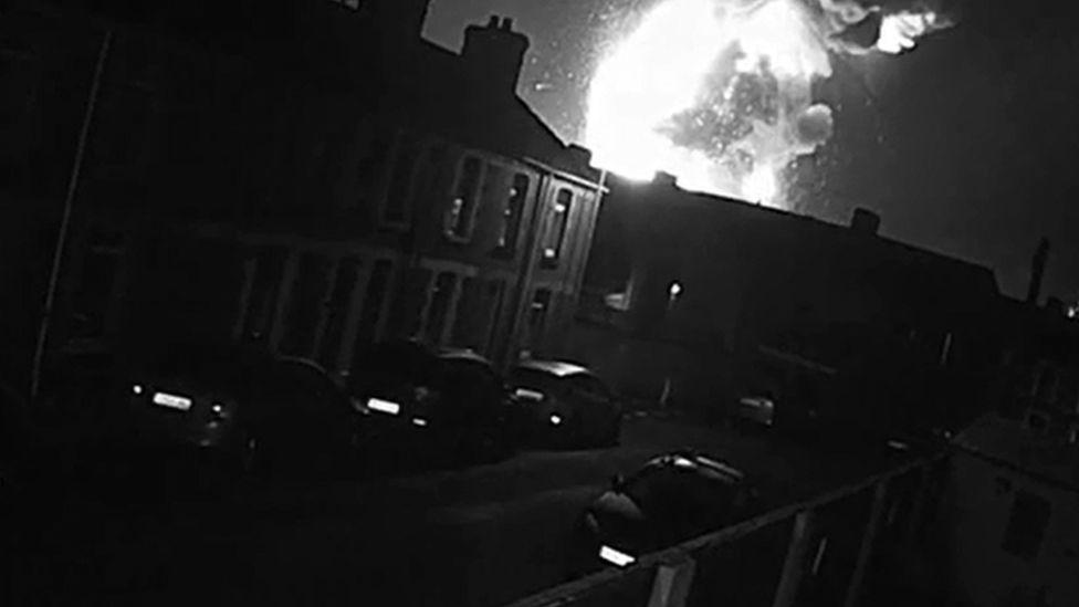 Explosion on CCTV