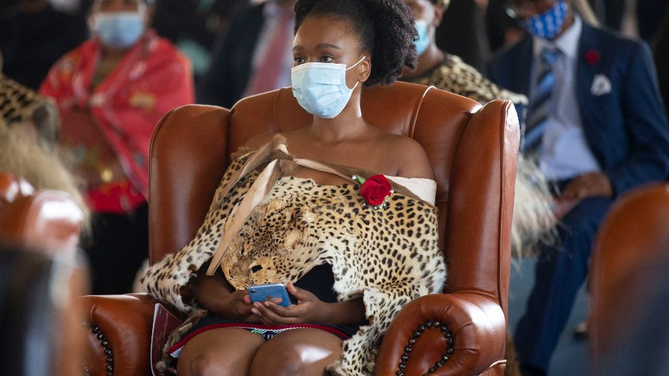 A member of South Africa's Zulu royal family at the memorial service in Nongoma for the Zulu king - 18 March 2021