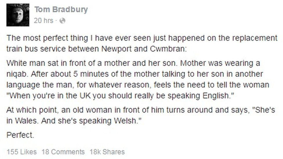 Tom Bradbury's Facebook post