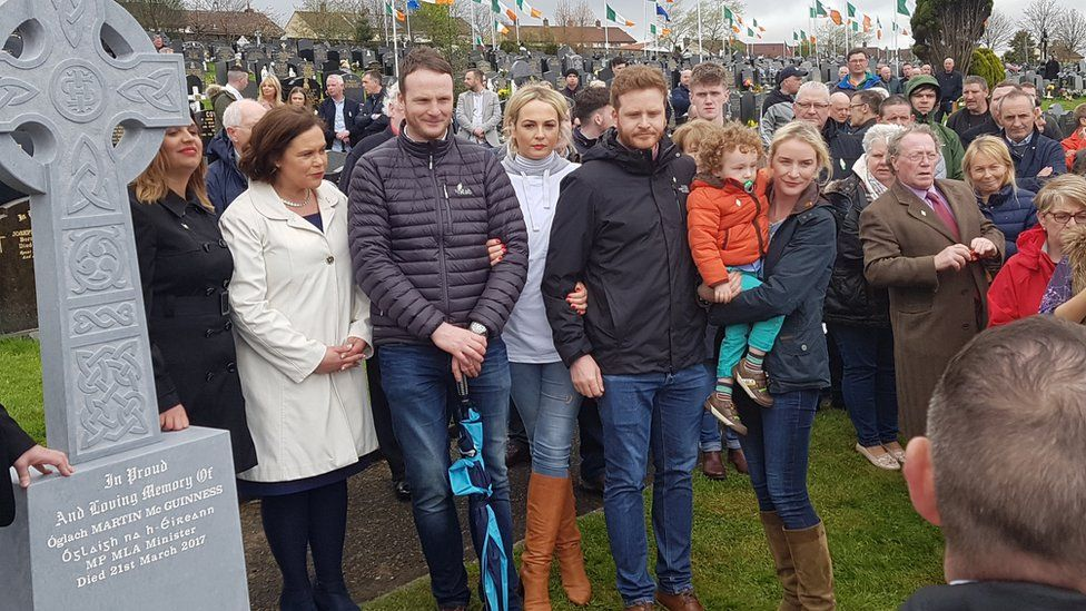 Martin McGuinness' family and Sinn Féin deputy leader Mary-Lou McDonald at the unveiling of Martin McGuinness' headstone in Derry