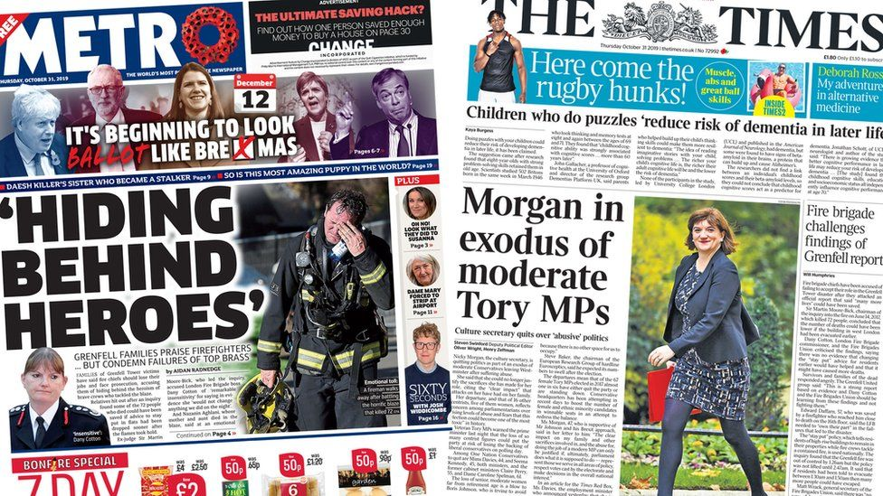 Front pages of the Metro and the Times