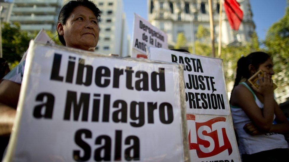 Protest calling for the release of Tupac Amaru social movement leader Milagro Sala