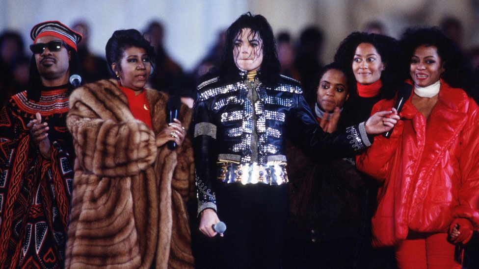 Aretha Franklin with Stevie Wonder, Michael Jackson and Diana Ross in 1993