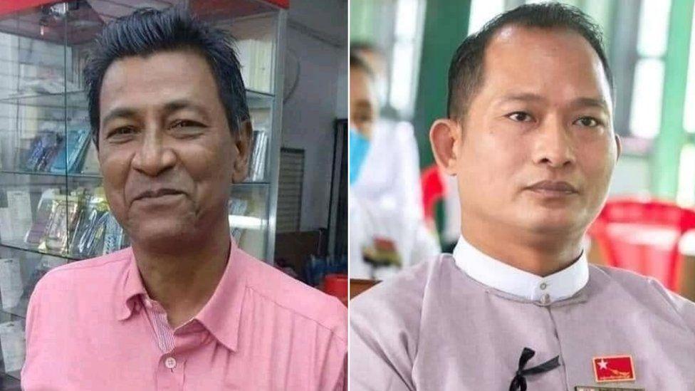 Collage of Khin Maung Latt (L) and Zaw Myat Lynn (R)