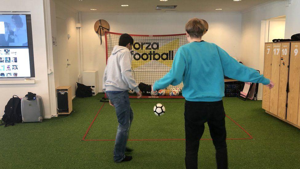 Forza employees playing football