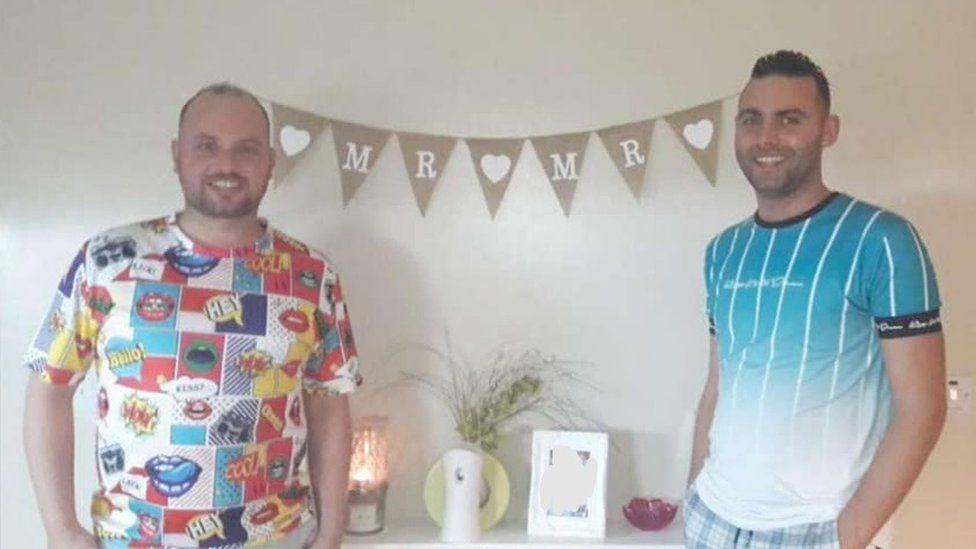 Matthew Moore and Anthony Kearney at their stag do