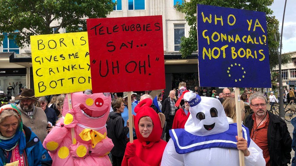 Protesters dressed as children's characters in Plymouth