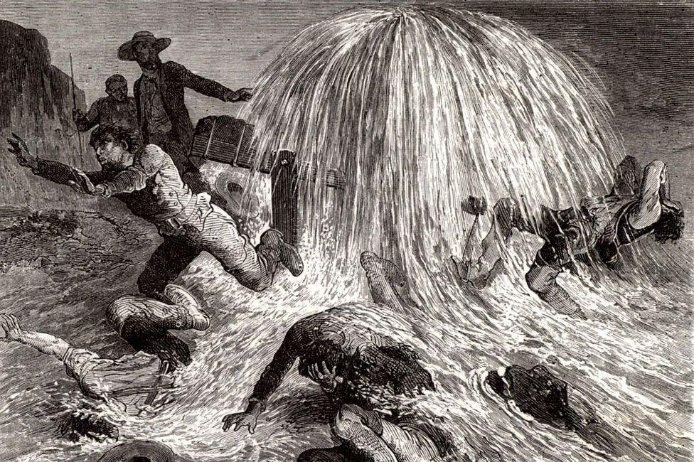 An engraving showing Edwin Drake striking oil near Oil Creek, Pennsylvania, 27 August 1859.
