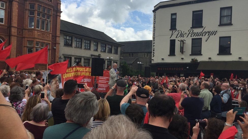 Jeremy Corbyn speaks to supporters at a rally at Merthyr Tydfil's Penderyn Square