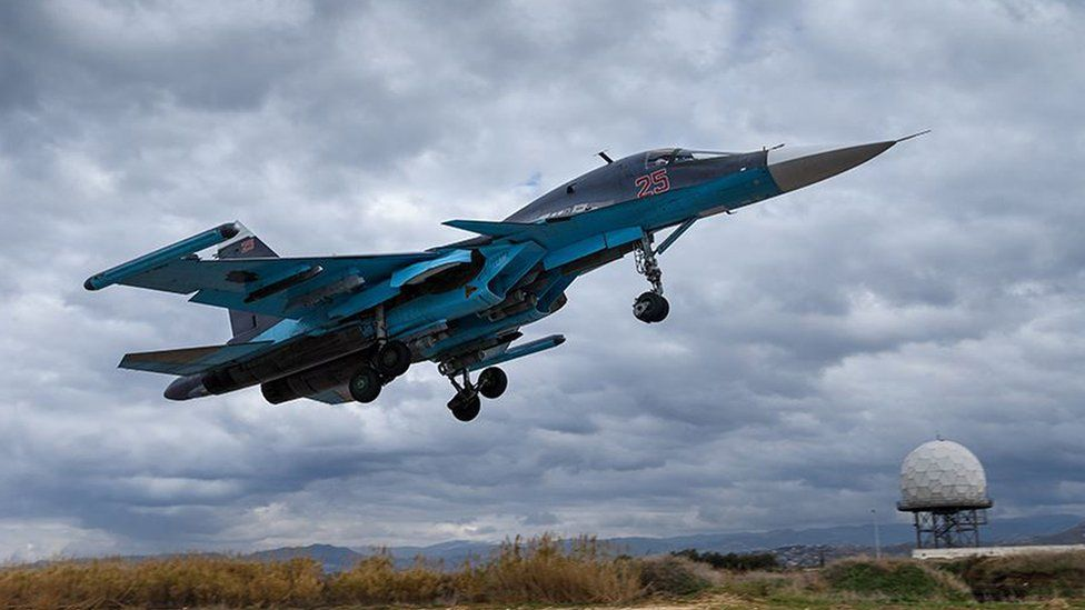 Russian Sukhoi Su-34 fighter bomber at the Hmeimim airbase in Syria