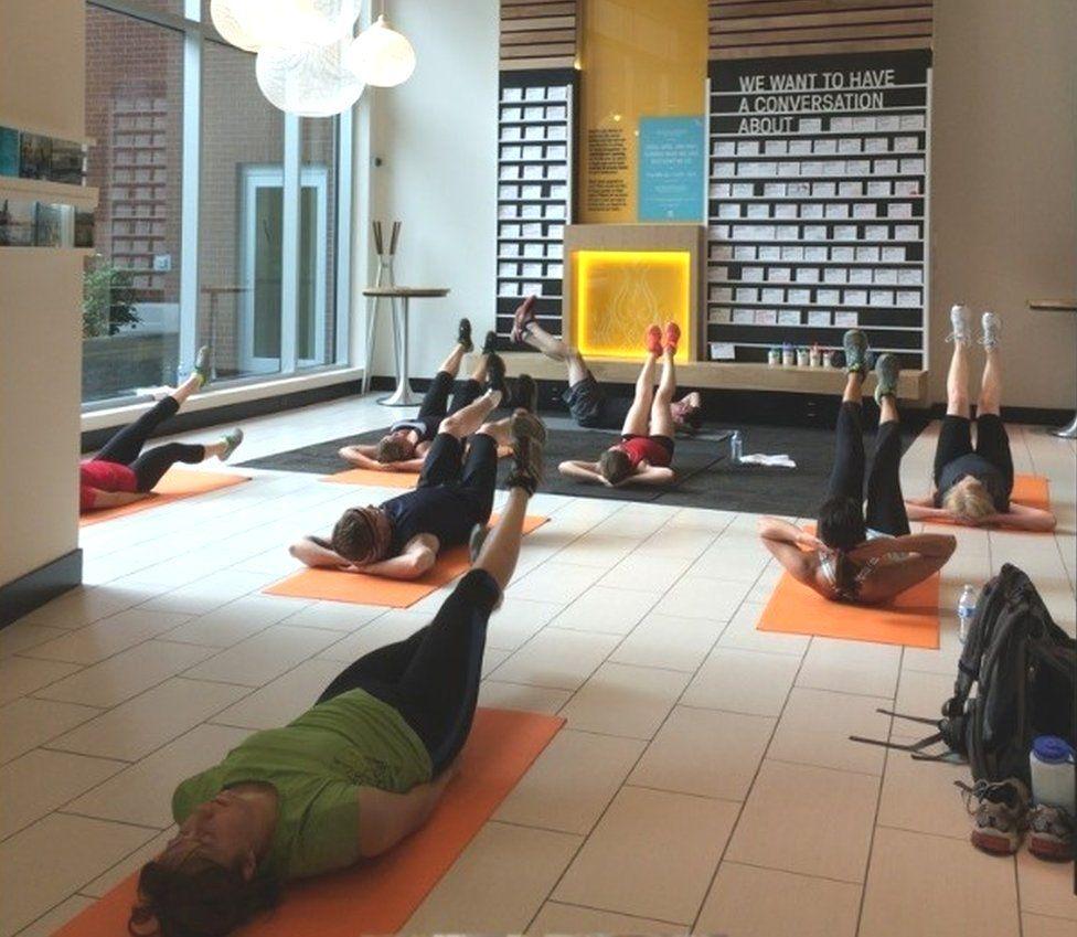 Yoga class at Umpqua Bank in Portland, Oregon