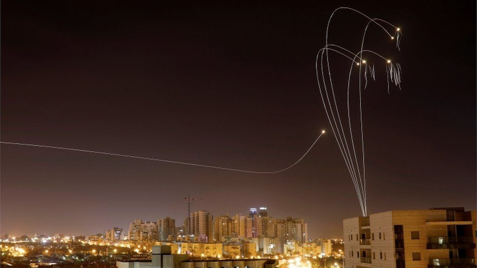 Israel's Iron Dome anti-missile system fires interception rockets in Ashkelon, 5 May 2019