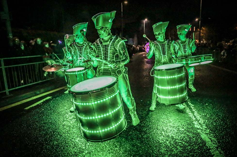 Costumed performers taking part in the annual Paisley Halloween Festival