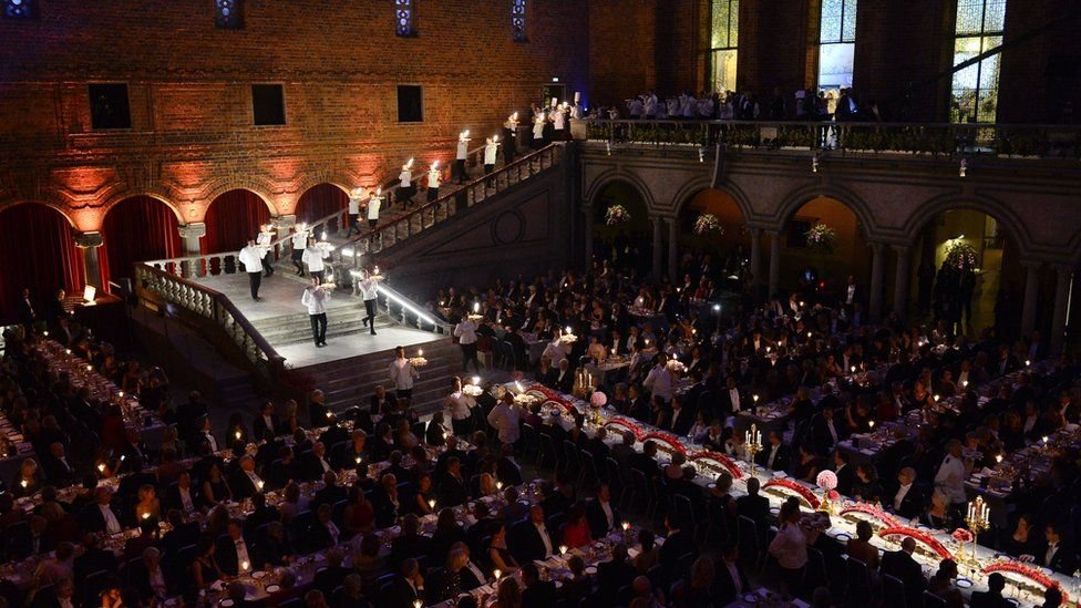 Guests attend the traditional Nobel Prize banquet at the Stockholm City Hall on December 10, 2014