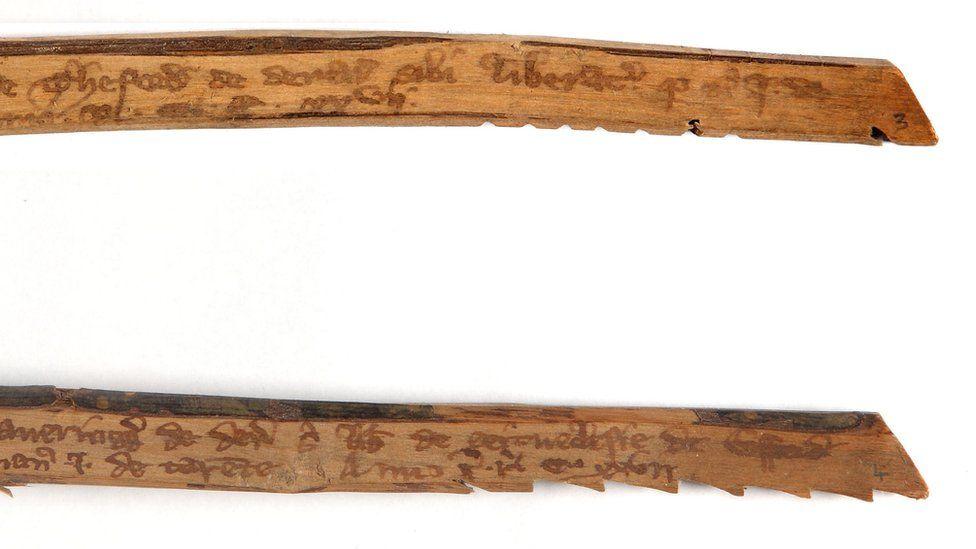 Medieval tally sticks. circa 1299