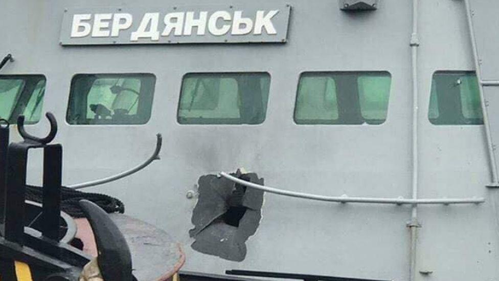 Damaged Ukrainian gunboat Berdyansk in Crimea