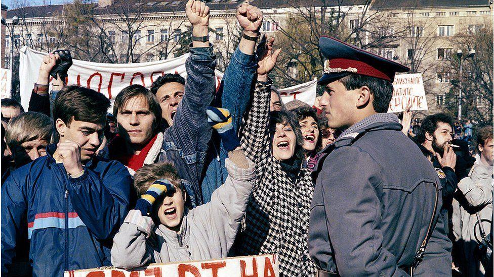 Protests in Sofia, Nov 1989