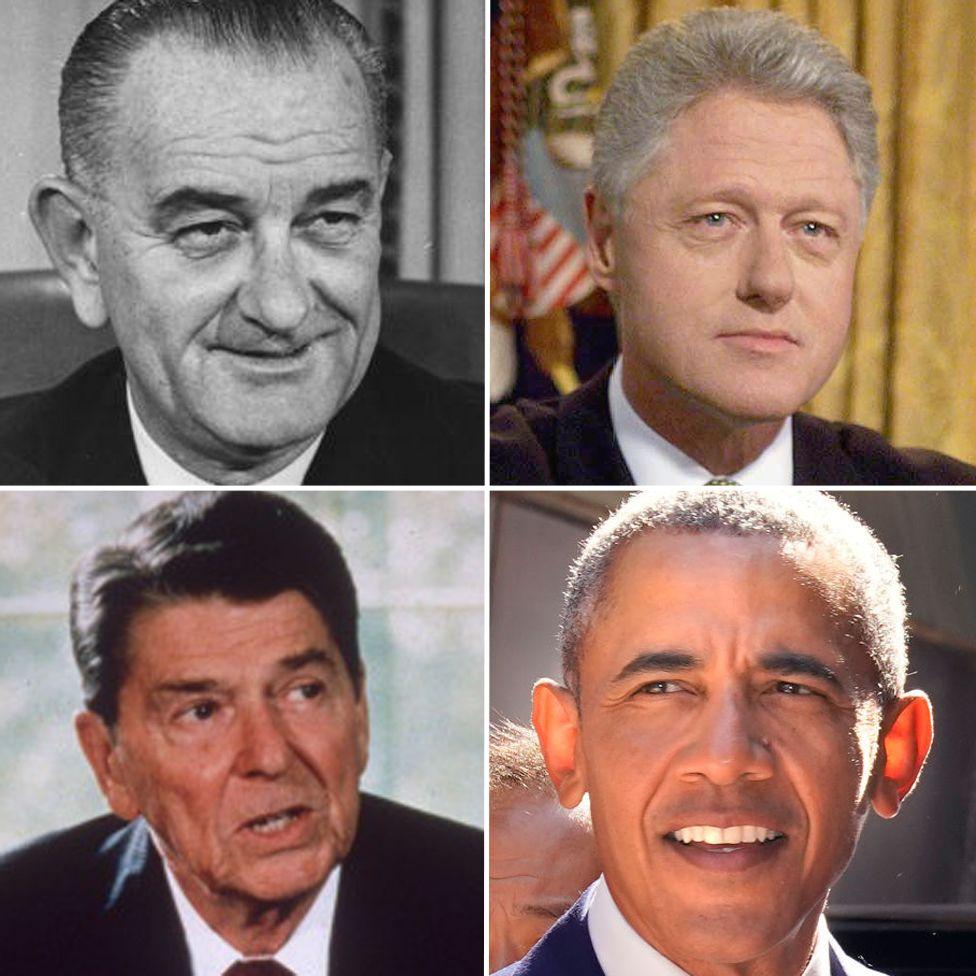 (l-r) LBJ, Clinton, Reagan and Obama - all two term presidents