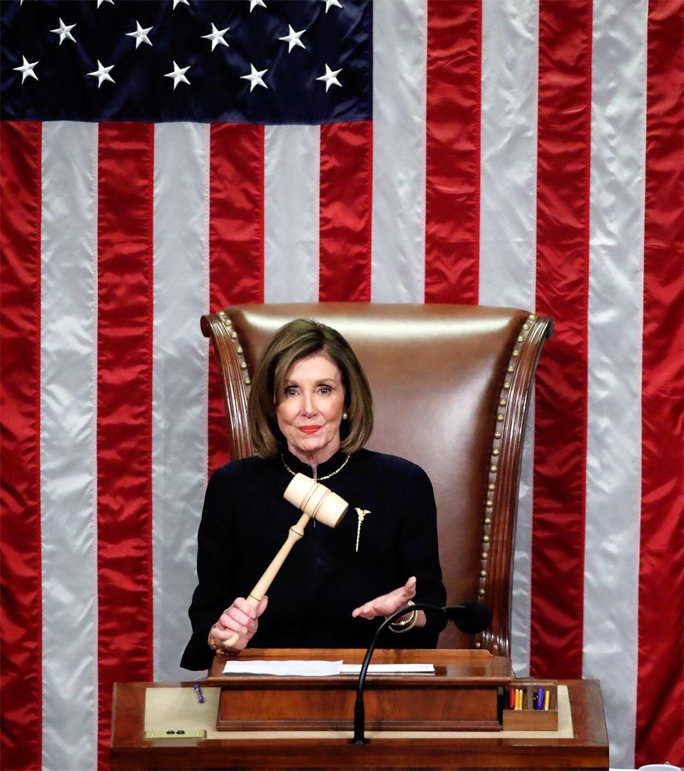 US Speaker of the House Nancy Pelosi wields the gavel