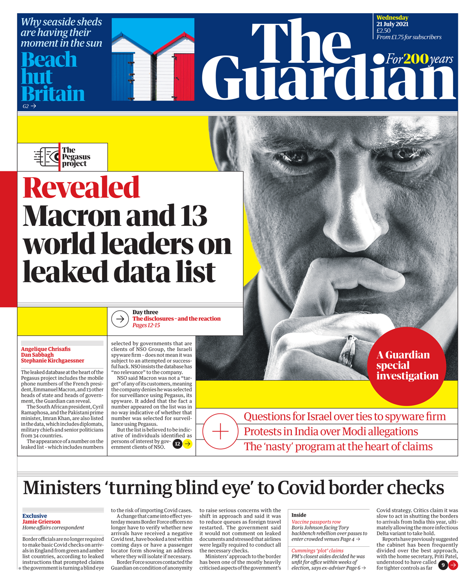 Guardian front page 21/07/21
