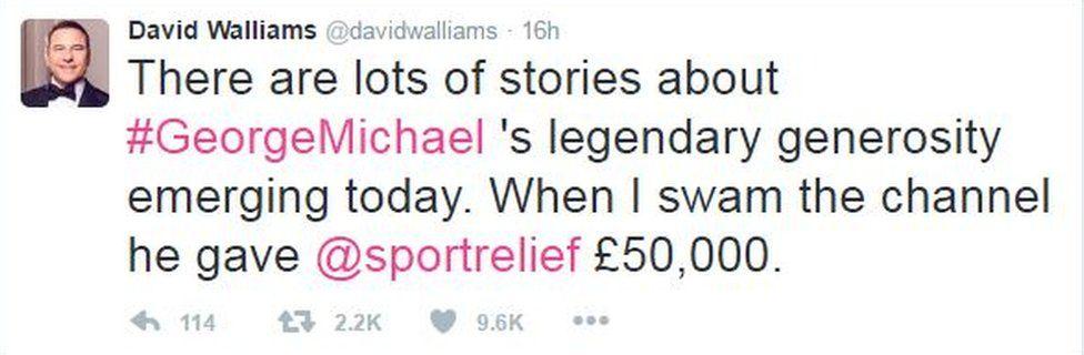 David Walliams tweet