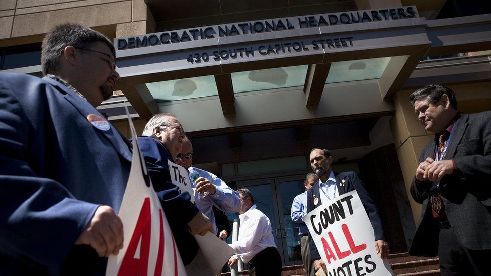 Protestors outside DNC