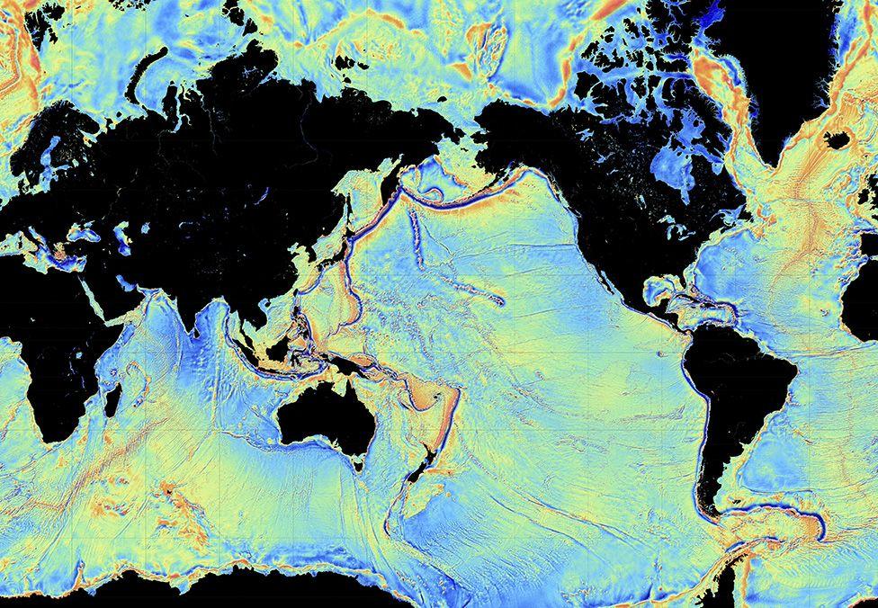 Ocean floor map from gravity