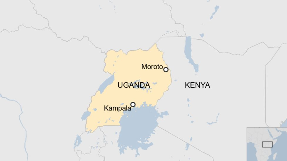 A map showing the location of Moroto in Uganda