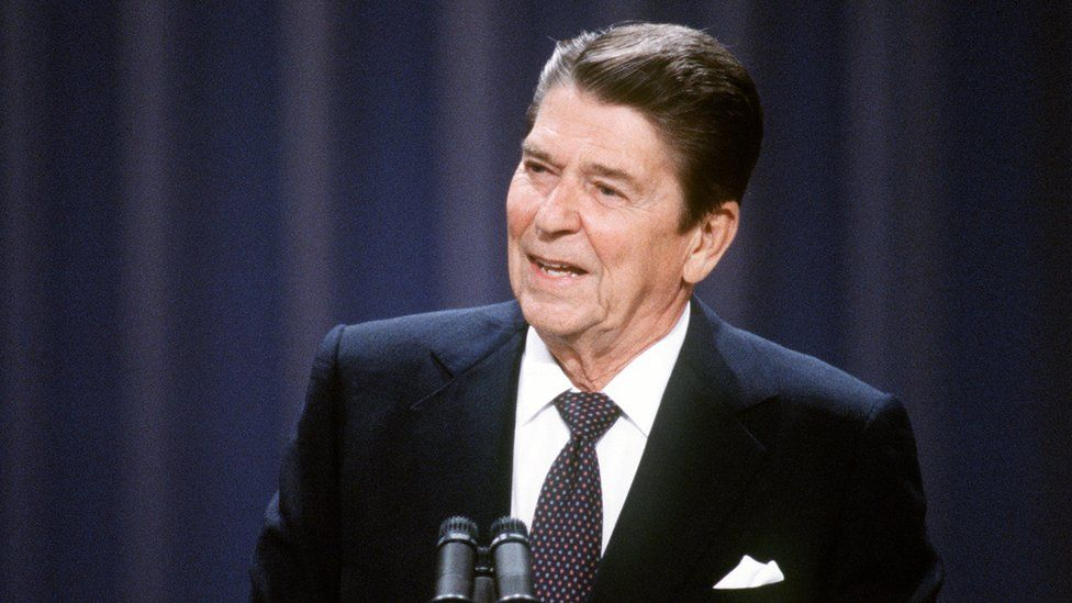 Ronald Reagan on stage during his 1984 presidential campaign