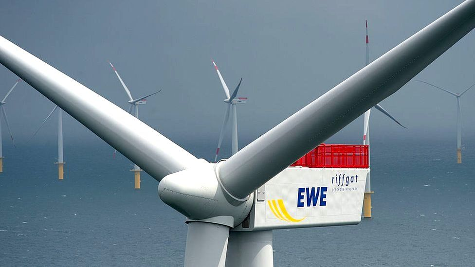Wind turbines stand at the Riffgat offshore wind farm, Germany