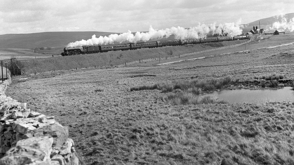 A3 locomotive Colombo with a train at Ribblehead, c 1960
